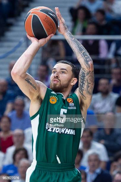 Mike James of Panathinaikos Superfood in action during the Turkish Airlines Euroleague Play Offs Game 4 between Real Madrid v Panathinaikos...
