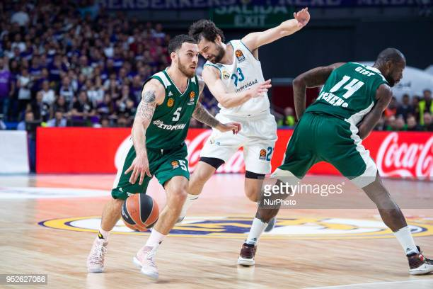 Mike James of Panathinaikos Superfood Sergio Llull of Real Madrid and James Gist of Panathinaikos Superfood in action during the Turkish Airlines...