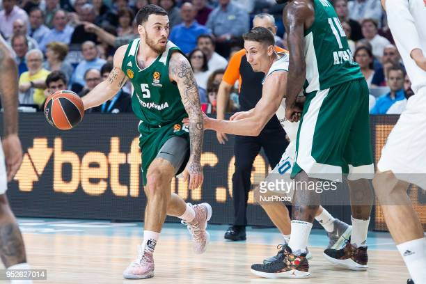 Mike James of Panathinaikos Superfood vies Jaycee Carroll #20 of Real Madrid in action during the Turkish Airlines Euroleague Play Offs Game 4...