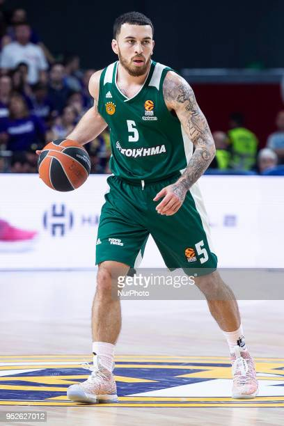 Mike James of Panathinaikos Superfoods in action during the Turkish Airlines Euroleague Play Offs Game 4 between Real Madrid v Panathinaikos...