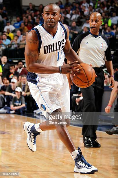 Mike James of the Dallas Mavericks brings the ball up court against the Brooklyn Nets on March 20 2013 at the American Airlines Center in Dallas...