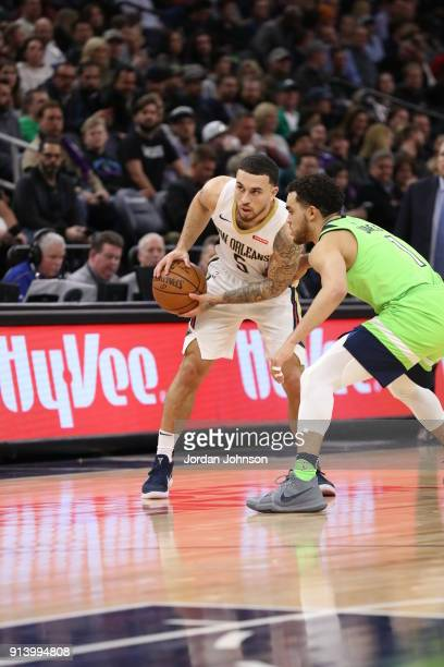 Mike James of the New Orleans Pelicans handles the ball against the Minnesota Timberwolves on February 3 2018 at Target Center in Minneapolis...