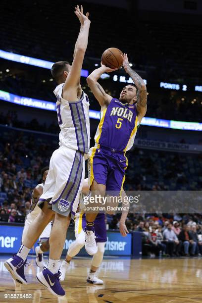 Mike James of the New Orleans Pelicans shoots against Georgios Papagiannis of the Sacramento Kings during the first half at the Smoothie King Center...