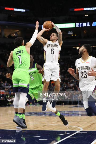 Mike James of the New Orleans Pelicans shoots the ball against the Minnesota Timberwolves on February 3 2018 at Target Center in Minneapolis...