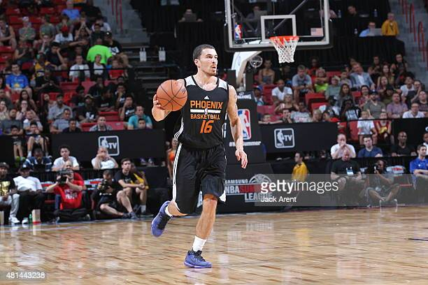 Mike James of the Phoenix Suns brings the ball up court against the San Antonio Spurs during the Las Vegas Summer League Championship on July 20 2015...