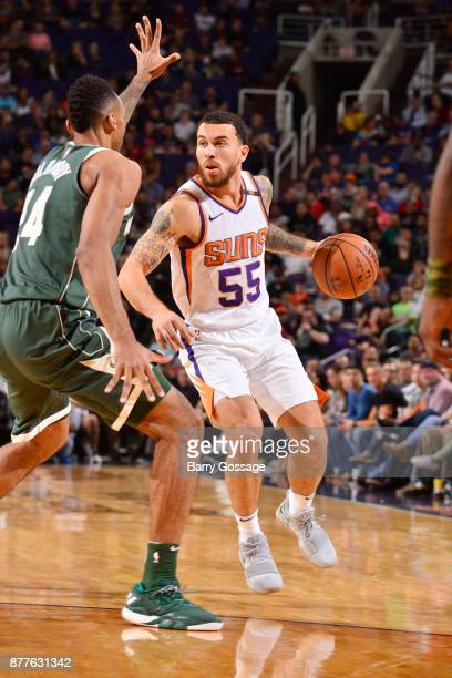 Mike James of the Phoenix Suns handles the ball against the Milwaukee Bucks on November 22 2017 at Talking Stick Resort Arena in Phoenix Arizona NOTE...