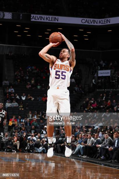 Mike James of the Phoenix Suns shoots the ball against the Brooklyn Nets on October 31 2017 at Barclays Center in Brooklyn New York NOTE TO USER User...