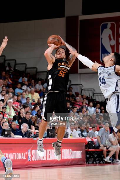 Mike James of the Phoenix Suns shoots the ball during the game against the Memphis Grizzlies during the 2017 Las Vegas Summer League game on July 13...