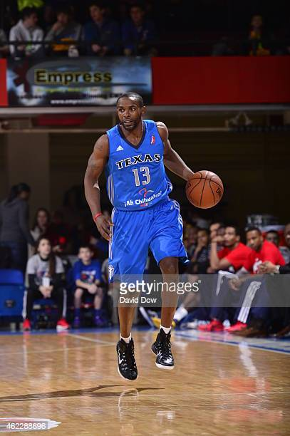 Mike James of the Texas Legends dribbles the ball against the Westchester Knicks at the Westchester County Center on January 24 2015 in Westchester...