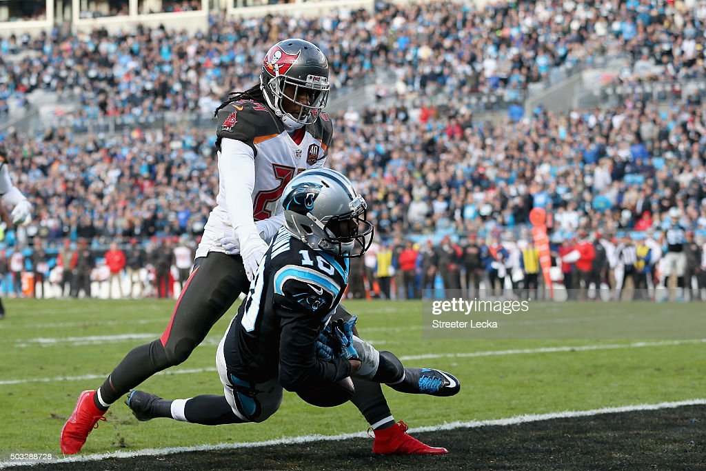 Mike Jenkins #24 of the Tampa Bay Buccaneers defends a pass to Corey Brown #10 of the Carolina Panthers in the 1st quarter during their game at Bank of America Stadium on January 3, 2016 in Charlotte, North Carolina.