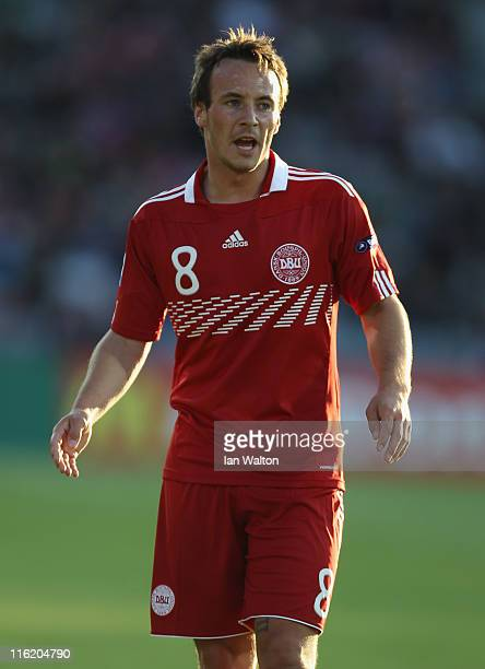 Mike Jensen of Denmark in action during the UEFA European Under21 Championship Group A match between Denmark and Belarus at the Aarhus stadium on on...