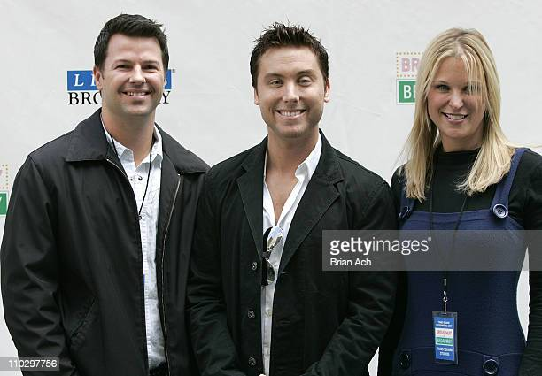 Mike Jerrick of The Morning Show actor Lance Bass and Juliet Huddy of The Morning Show attend the 16th Annual Broadway on Broadway on September 16...