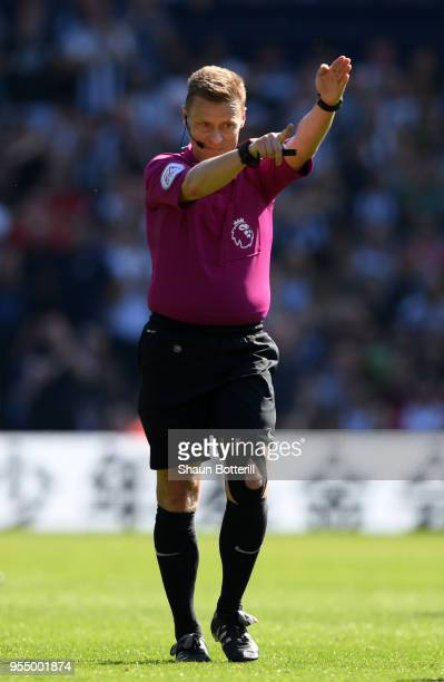 Mike Jones Match Referee reacts during the Premier League match between West Bromwich Albion and Tottenham Hotspur at The Hawthorns on May 5 2018 in...
