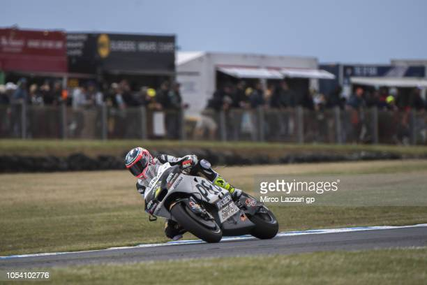 Mike Jones of Australia and Angel Nieto Team heads down a straight during the MotoGP qualifying during qualifying for the 2018 MotoGP of Australia at...