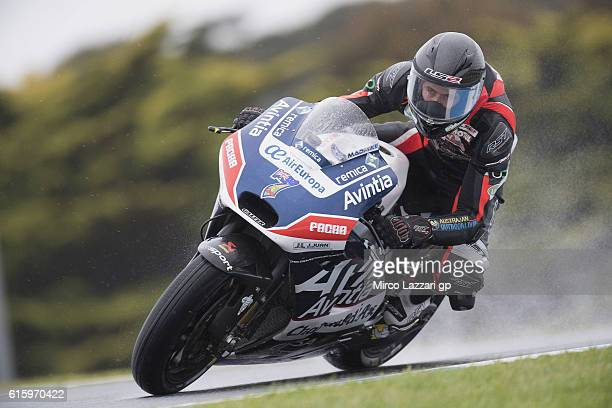Mike Jones of Australia and Avintia Racing rounds the bend during free practice for the 2016 MotoGP of Australia at Phillip Island Grand Prix Circuit...