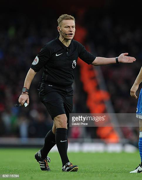 Mike Jones the referee during the Premier League match between Arsenal and AFC Bournemouth at Emirates Stadium on November 27 2016 in London England