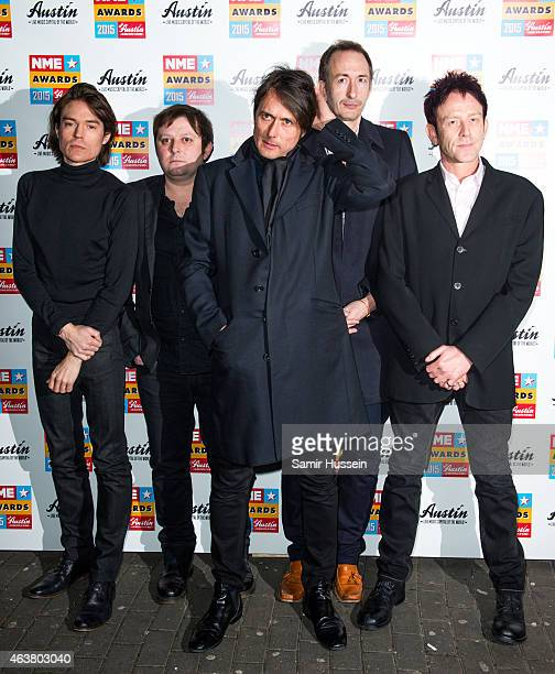 Mike Joyce Richard Oakes Brett Anderson Simon Gilbert and Mat Osman of Suede attend the NME Awards at Brixton Academy on February 18 2015 in London...