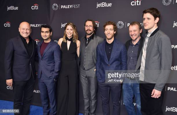 Mike Judge Kumail Nanjiani Amanda Crew Martin Starr Thomas Middleditch Alec Berg and Zach Woods attend HBO's Silicon Valley Panel at PaleyFest 2018...