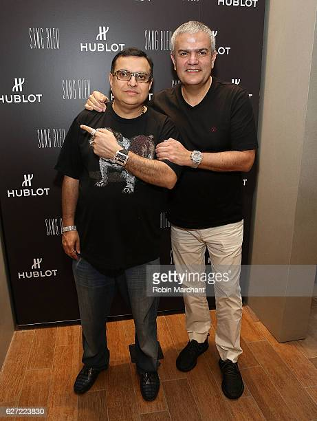 Mike Kalwani and CEO Hublot Ricardo Guadalupe attend Hublot Cocktail Reception at Miami Design District on December 2 2016 in Miami Florida
