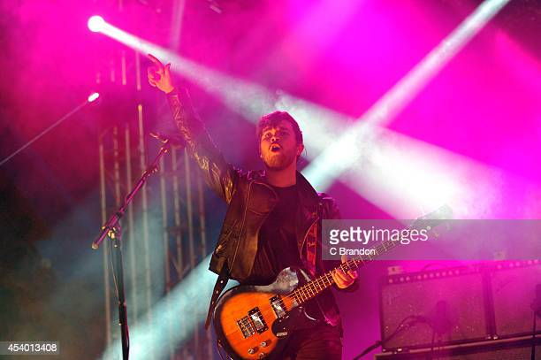 Mike Keer of Royal Blood performs on stage at the Reading Festival at Richfield Avenue on August 23 2014 in Reading United Kingdom