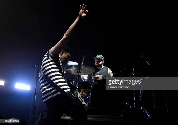Mike Kerr and Ben Thatcher of Royal Blood Perform At The Forum supporting Queens of the Stone Age on February 17 2018 in Inglewood California