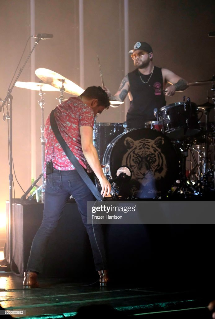 Mike Kerr and Ben Thatcher of Royal Blood perform at The Wiltern on August 16, 2017 in Los Angeles, California.