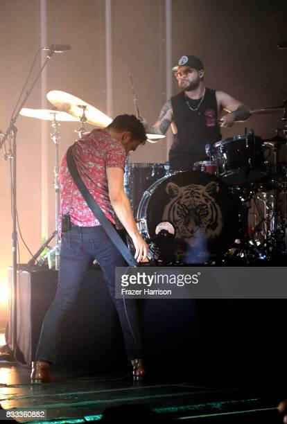 Mike Kerr and Ben Thatcher of Royal Blood perform at The Wiltern on August 16 2017 in Los Angeles California