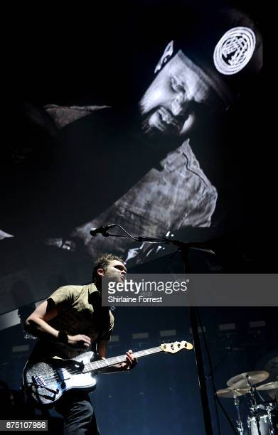 Mike Kerr and Ben Thatcher of Royal Blood perform live on stage at Manchester Arena on November 16 2017 in Manchester England
