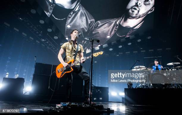 Mike Kerr and Ben Thatcher of Royal Blood perform on stage at Motorpoint Arena on November 13 2017 in Cardiff Wales