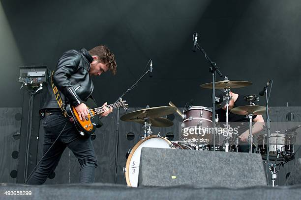 Mike Kerr and Ben Thatcher of Royal Blood perform on stage at Finsbury Park on May 24 2014 in London United Kingdom