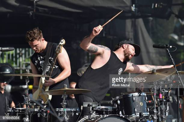 Mike Kerr and Ben Thatcher of Royal Blood perform on the Firefly Stage during the 2018 Firefly Music Festival on June 16 2018 in Dover Delaware