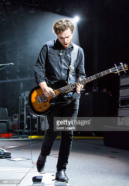 Mike Kerr of Royal Blood performs at DTE Energy Music Theater on August 24 2015 in Clarkston Michigan