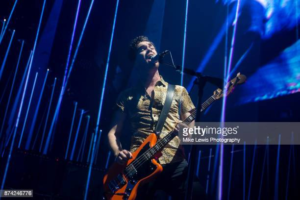 Mike Kerr of Royal Blood performs at Motorpoint Arena on November 13 2017 in Cardiff Wales