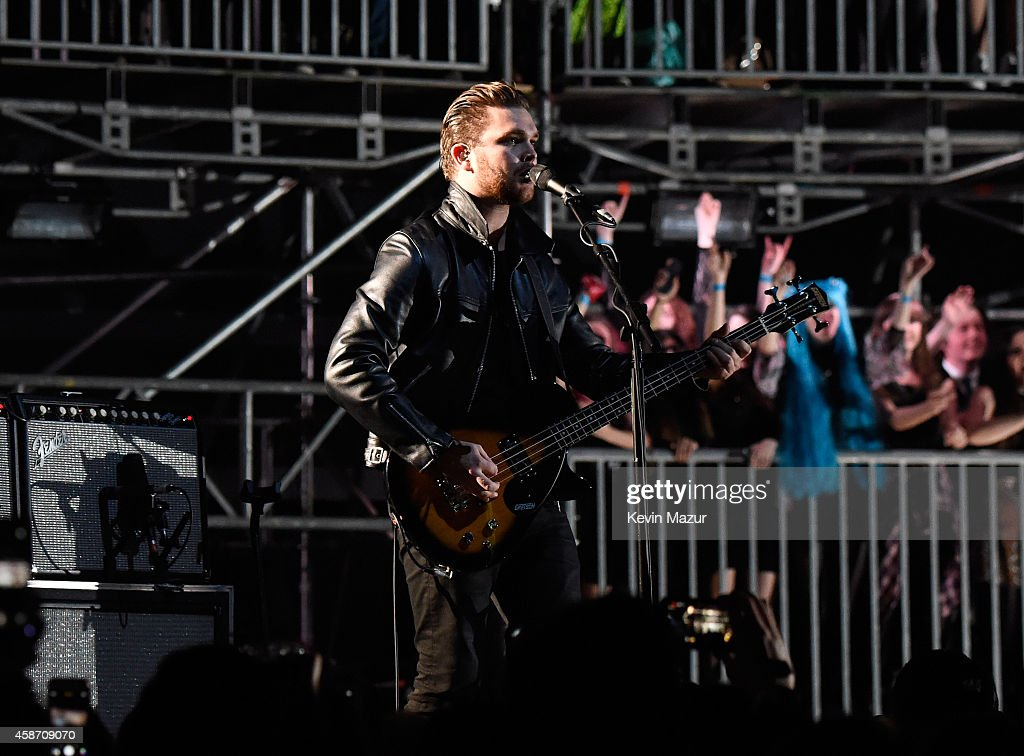 Mike Kerr of Royal Blood performs at the MTV EMA's 2014 at The Hydro on November 9, 2014 in Glasgow, Scotland.