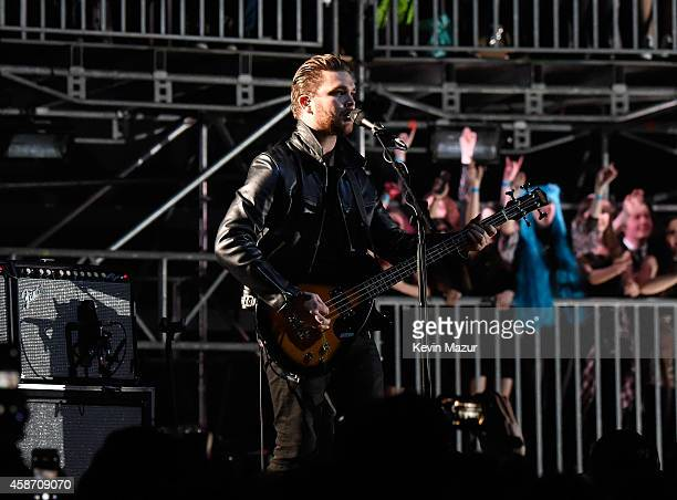 Mike Kerr of Royal Blood performs at the MTV EMA's 2014 at The Hydro on November 9 2014 in Glasgow Scotland
