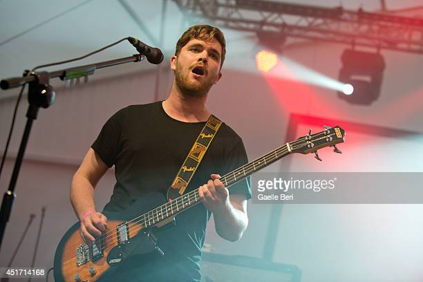 Mike Kerr of Royal Blood performs on stage at Open'er Festival at Gdynia Kosakowo Airport on July 4 2014 in Gdynia Poland