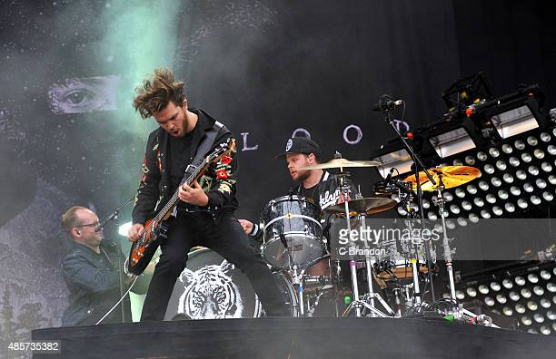 Mike Kerr of Royal Blood performs on stage during the 2nd Day of the Reading Festival at Richfield Avenue on August 29 2015 in Reading England