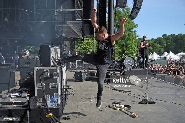Mike Kerr of Royal Blood performs on the Firefly Stage during the 2018 Firefly Music Festival on June 16 2018 in Dover Delaware