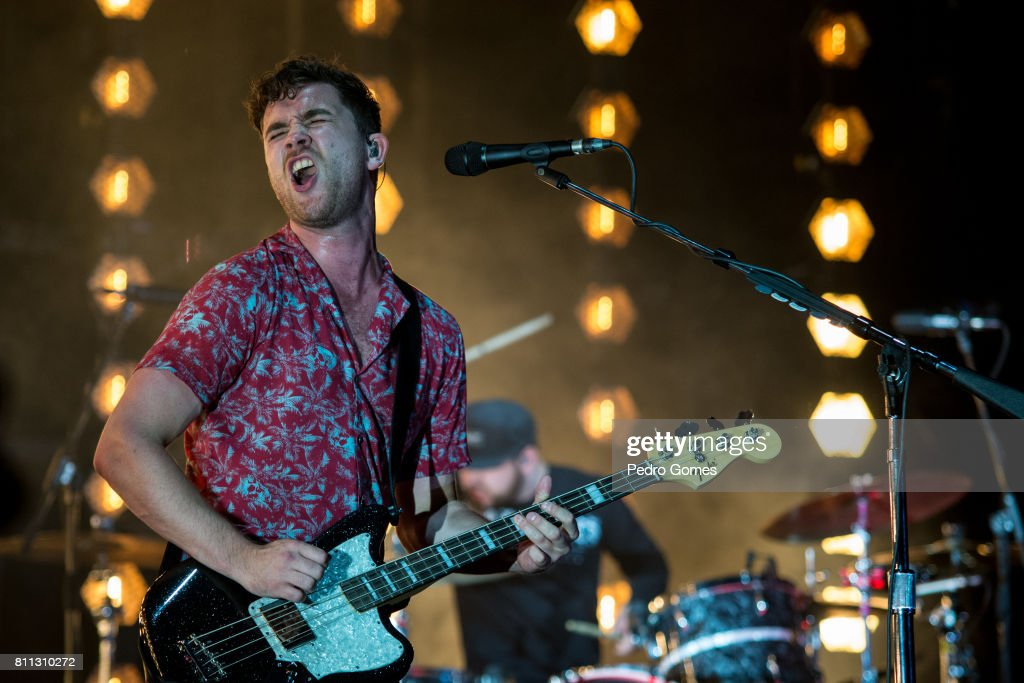 Mike Kerr of Royal Blood performs on the Heineken stage during day 1 of NOS Alive festival on July 6, 2017 in Lisbon, Portugal.