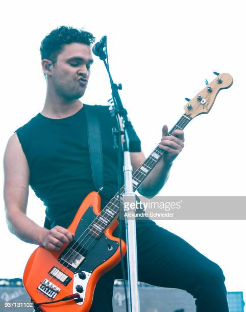 Mike Kerr singer of Royal Blood performs during the Lollapaloosa Sao Paulo 2018 Day 1 on March 23 2018 in Sao Paulo Brazil