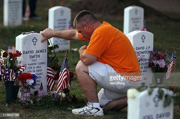 Mike King of Fairfax Virginia remembers his friend Marine Crops Sergeant David James Smith of Frederick Maryland on Memorial Day May 30 2011 at...
