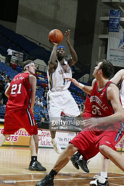 Mike King of the Fayetteville Patriots takes a jump shot against the Roanoke Dazzle during Game One of the NBDL Semifinals at the Crown Coliseum on...