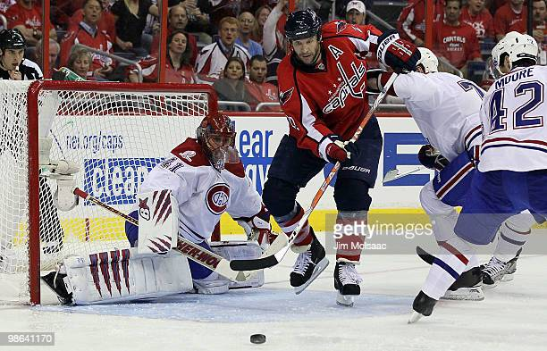Mike Knuble of the Washington Capitals is stopped by Jaroslav Halak of the Montreal Canadiens in Game Five of the Eastern Conference Quarterfinals...