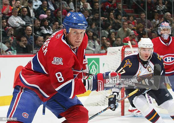 Mike Komisarek of the Montreal Canadiens skates against the Atlanta Thrashers at the Bell Centre on March 24, 2009 in Montreal, Quebec, Canada.