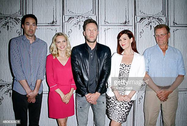 Mike Kosinski Mircea Monroe Michael Rosenbaum Sara Rue and David Rasche pose before discussing 'Impastor' during the AOL Build Series at AOL Studios...