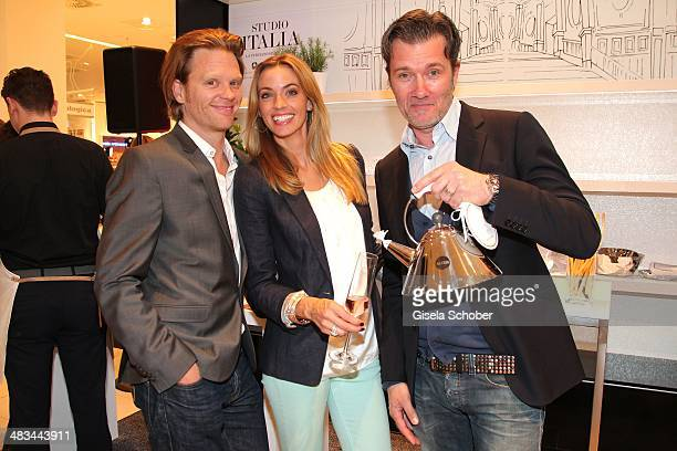 Mike Kraus and his wife Constanze Dj John Munich attend the 'Studio Italia La Perfezione del Gusto' grand opening at Oberpollinger on April 8 2014 in...