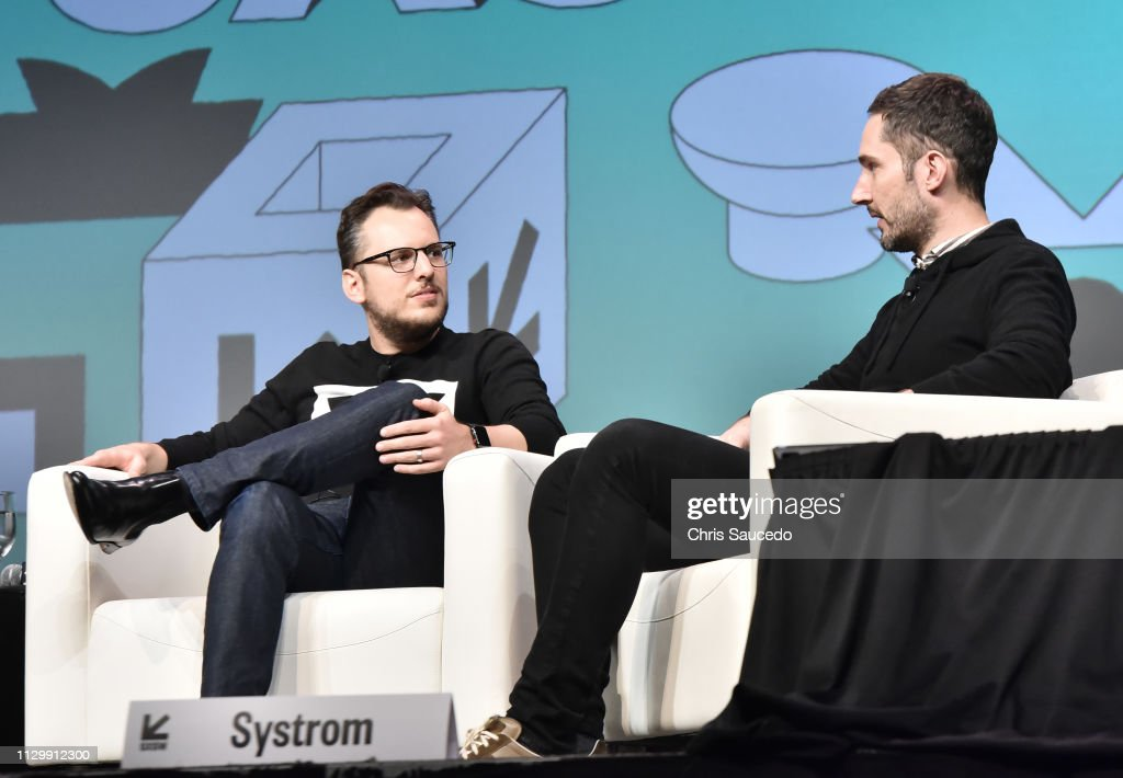 Mike Krieger and Kevin Systrom speak onstage at Interactive