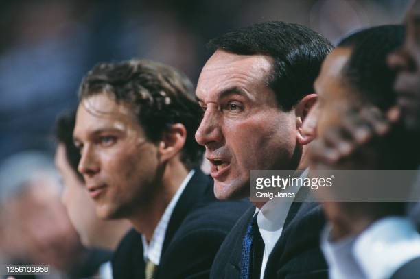 Mike Krzyzewski, Head Coach for the Duke University Blue Devils and assistant coach Quin Snyder during the NCAA Division I Men's East Regional...