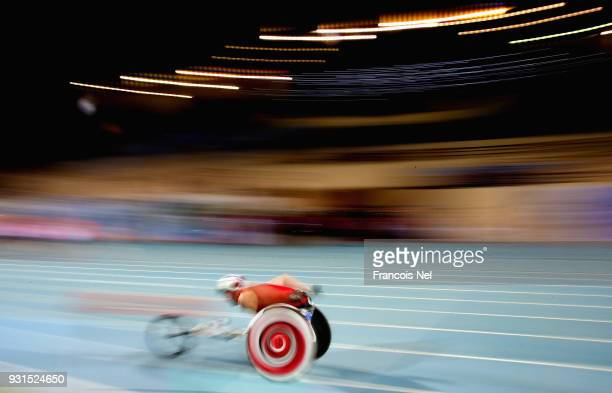 Mike Lackner of Austria competes in the 800m Men's Wheelchair Final during the 10th Fazza International IPC Athletics Grand Prix Competition World...
