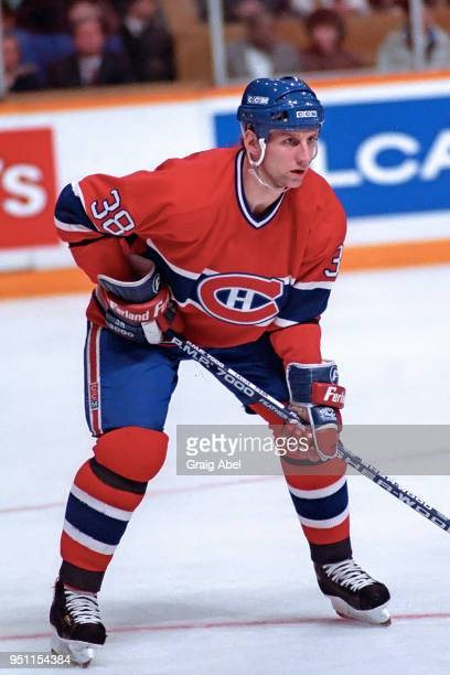 Mike Lalor of the Montreal Canadiens skates against the Toronto Maple Leafs during NHL game action on January 141989 at Maple Leaf Gardens in Toronto...